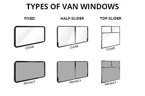 van glass and windows - rear side windows  s green  clear