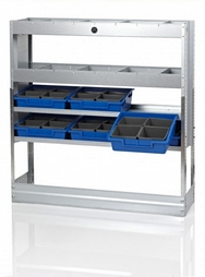 Galvanised Steel Racking Type A - 4 Shelf Unit with 2 Rows of Removable Trays + 2 Shelves with Dividers