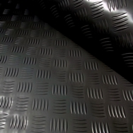 A 4x2mtr Black Rubber Anti-Slip Chequered Van Floor Covering