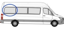 Volkswagen Crafter 2006 onwards  P3 L3 (LWB) O/S Privacy  Rear Window Glass