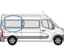Renault Master 2010 onwards P2 L2 (MWB)  O/S Privacy  Rear Window Glass