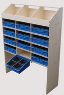 Birch Plywood Racking Type E - 300mm Depth - 3 Pigeon Hole Unit & 4 Shelves with 12 Removable Blue Trays