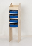 Birch Plywood Racking Type F - 300mm Depth - Slimline Unit with Open Top and 4 Blue Trays