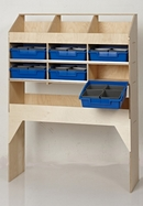 Birch Plywood Racking Type H - 300mm Depth - 3 Pigeon Hole Unit with 1 Open Shelf & 6 Blue Trays