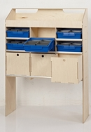 Birch Plywood Racking Type J - 300mm Depth - 3 Drawer Unit with 1 Open Shelf & 6 Blue Trays