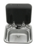 SINK & COVER (BLACK GLASS) - STAINLESS STEEL - 420mm x 440mm