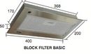 BLOCK FILTER BASIC 40cm COOKER HOOD GREY 12V