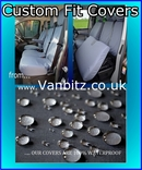 Volkswagen VW TransporterT5 Van 2010 To Current Driver's Seat Without Armrests And Double Passenger Seats Volkswagen VWT510FTNABK Tailored Seat Cover